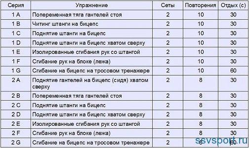 біцепс як тренувати таблиця