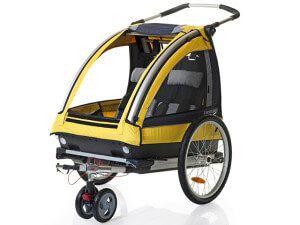 велотрейлер з ременями безпеки для перевезення дітей