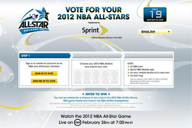 Як проголосувати за учасників all-star game 2012