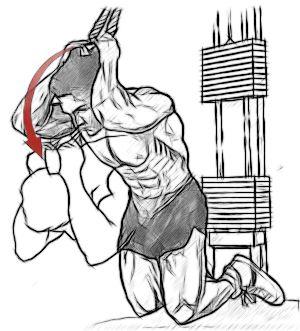 Скручування на блоці (спиною до тренажера, руки за головою)