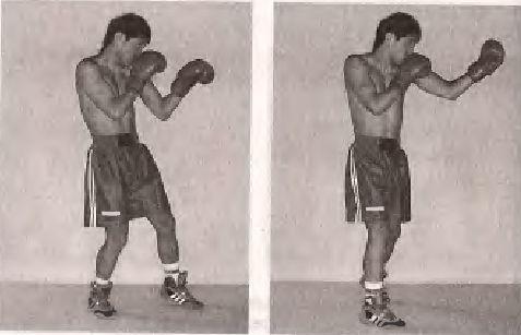 Удар знизу лівою рукою, з кроком вперед правою ногою