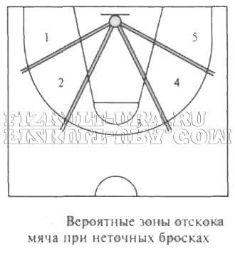 Зони відскоку від щита в баскетболі